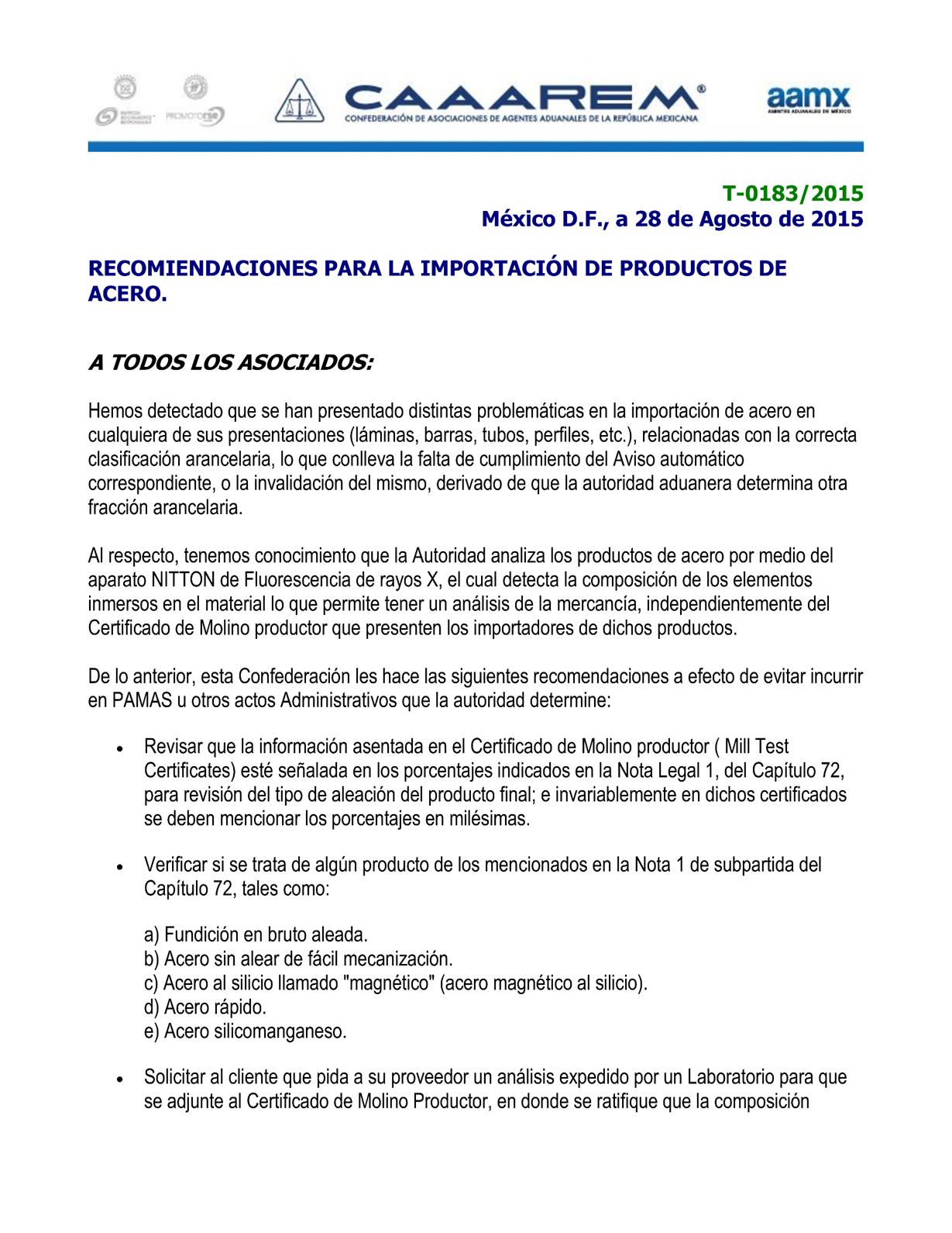 Circular T-0183-2015 Criterios a considerar en la Importación de acero P1
